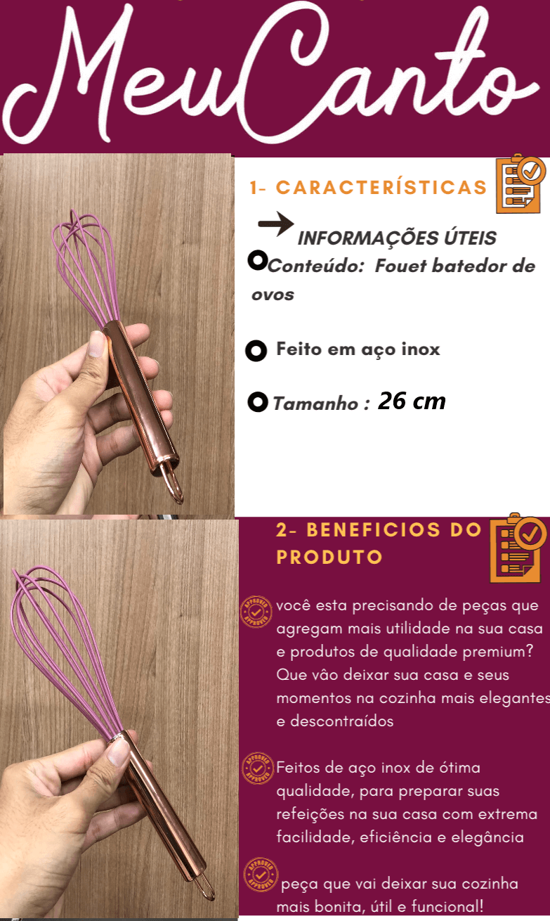 Batedor de ovos fouet rose cobre rosa de aço inox e silicone 26cm