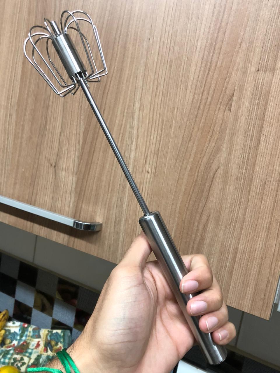 Batedor de ovos semi automático fouet profissional prateado de aço inox 31cm MimoStyle