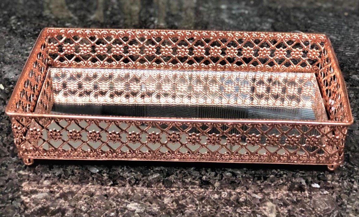 Bandeja decorativa espelhada lavabo metal cor cobre 24 x 13 x5