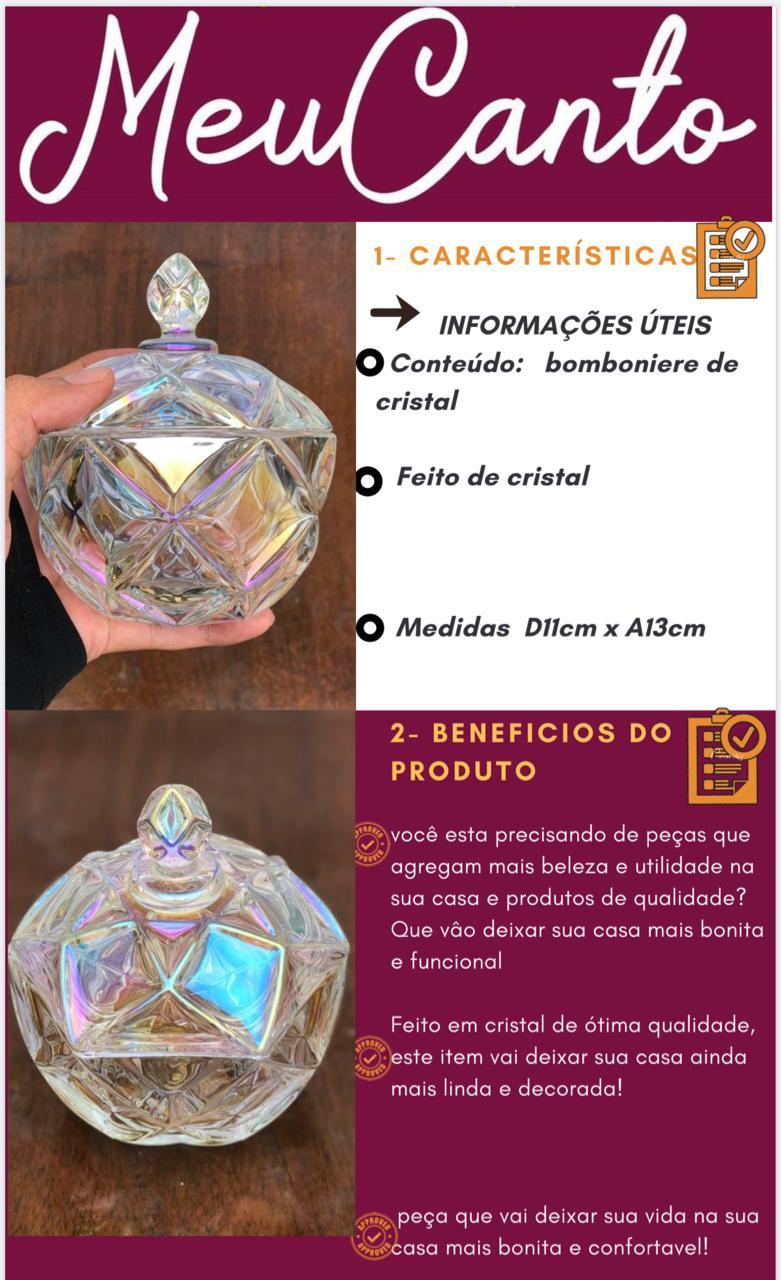 bomboniere de cristal potiche decoração sala A13x12 enfeite vidro vaso decorativo