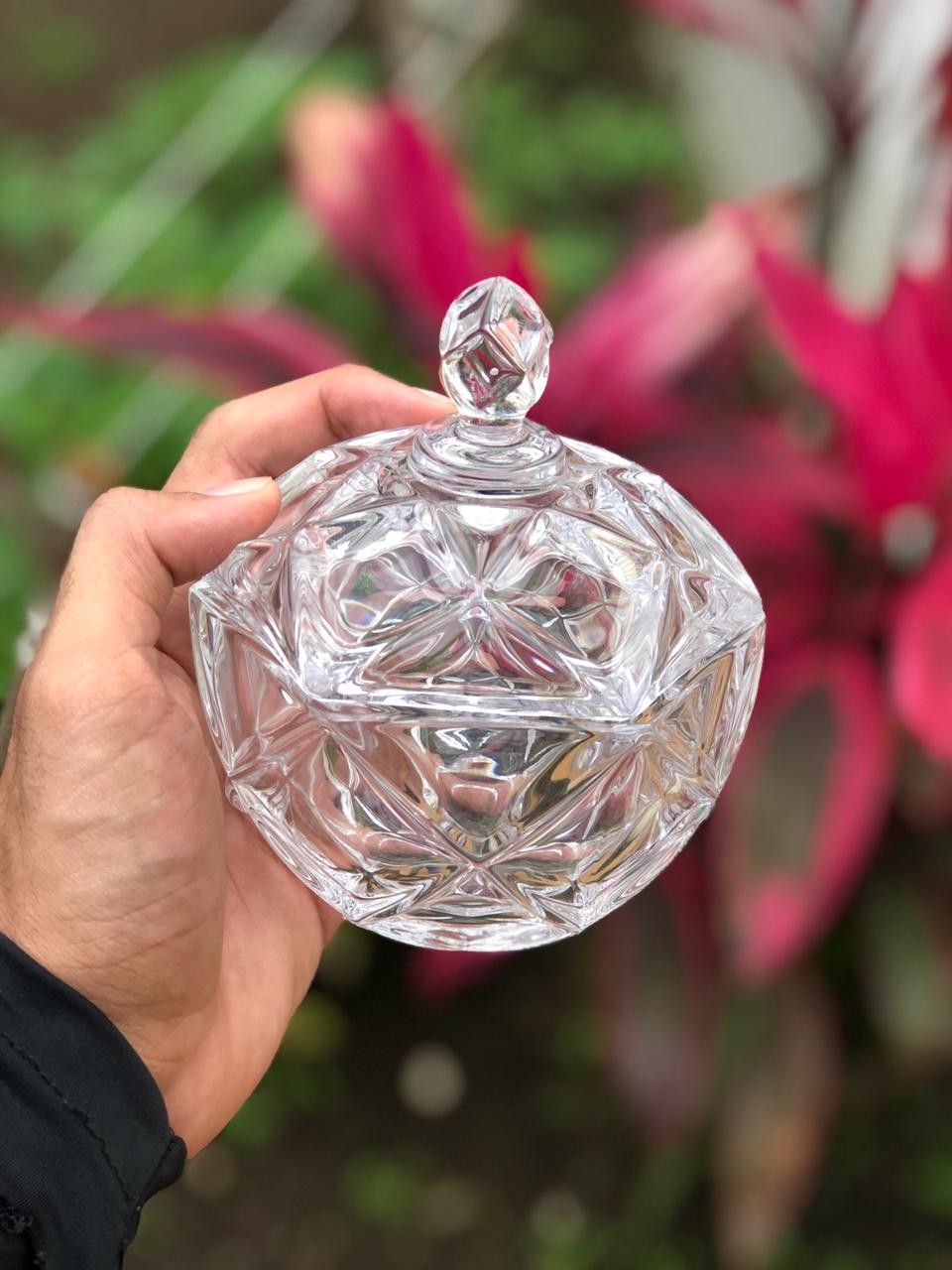 bomboniere de cristal potiche flamenco A13 x D12 enfeite vidro vaso decorativo