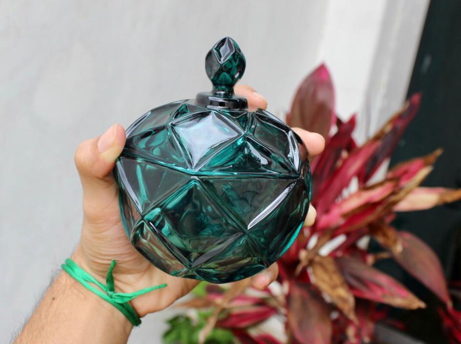 bomboniere de vidro cristal brux  A12x D12  enfeite decorativo azul L´hermitage