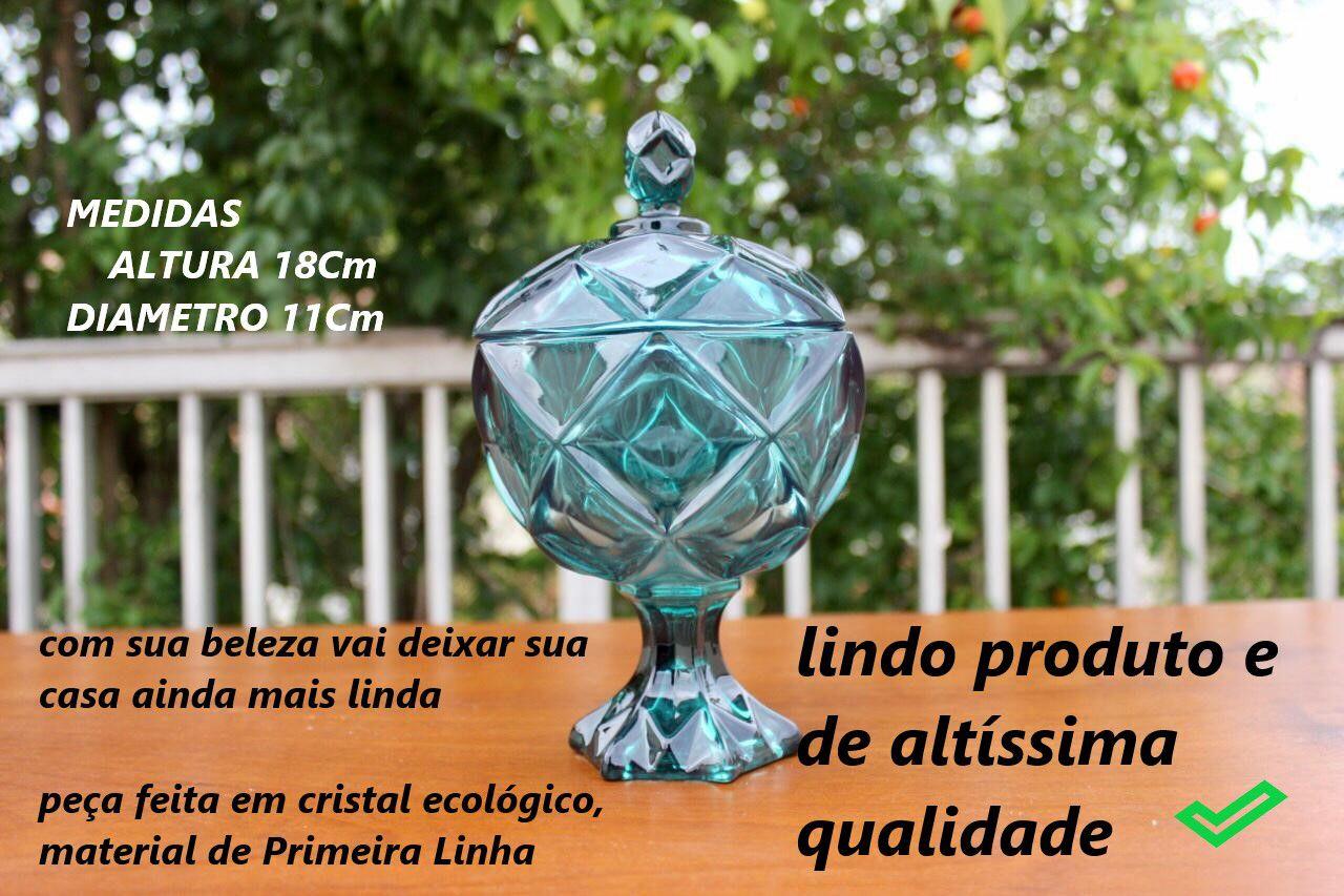 bomboniere de vidro cristal brux alta A18 x D11 enfeite decorativo azul
