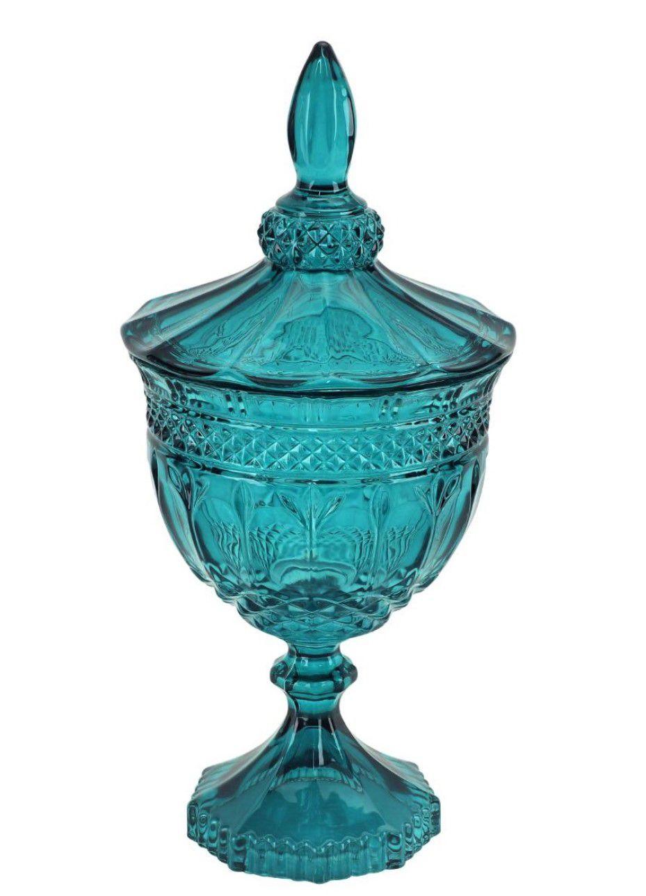 bomboniere de vidro cristal classica A25 x D12 enfeite decorativo azul Lhermitage