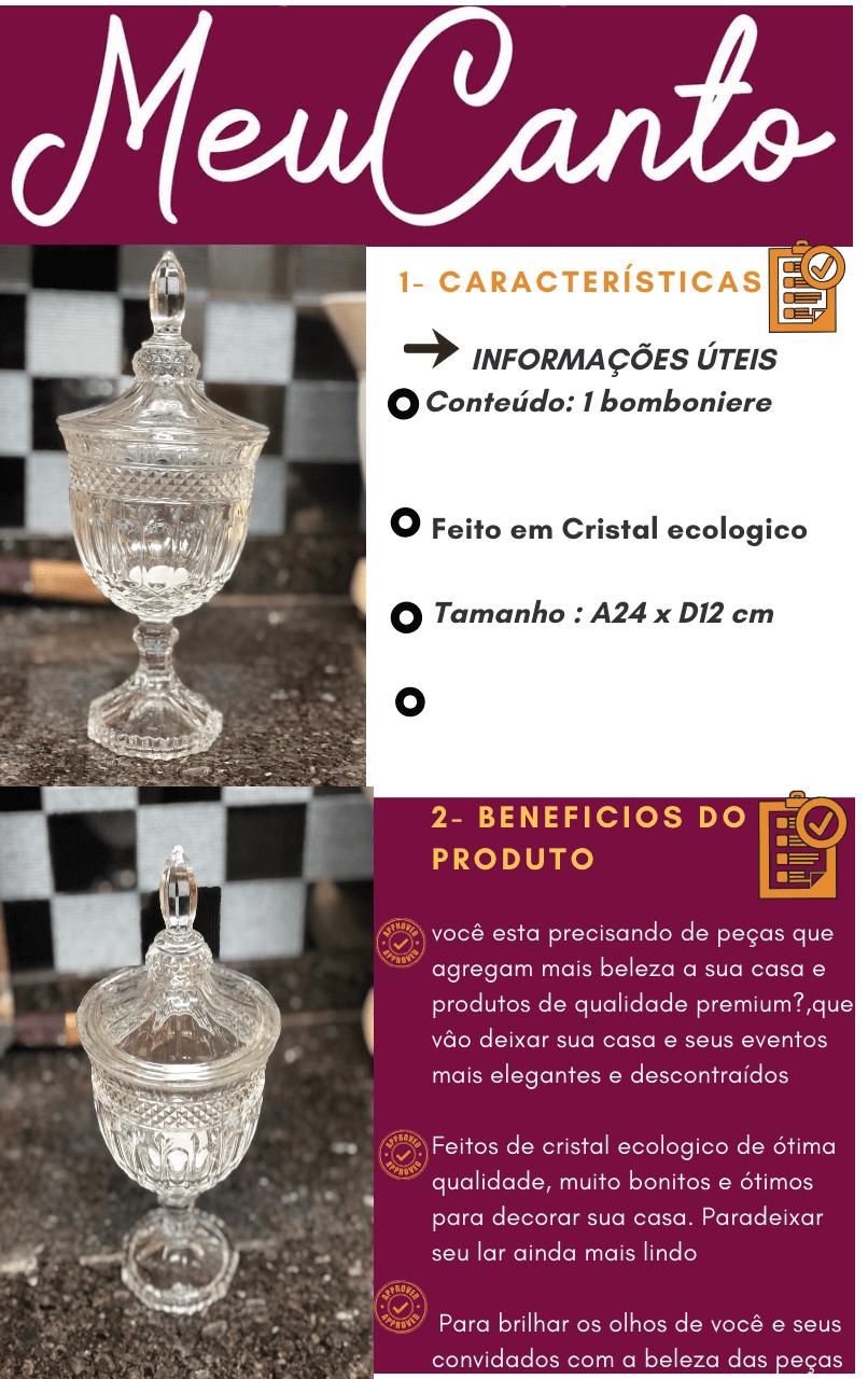 Bomboniere de vidro cristal classica A25 x D12 enfeite decorativo