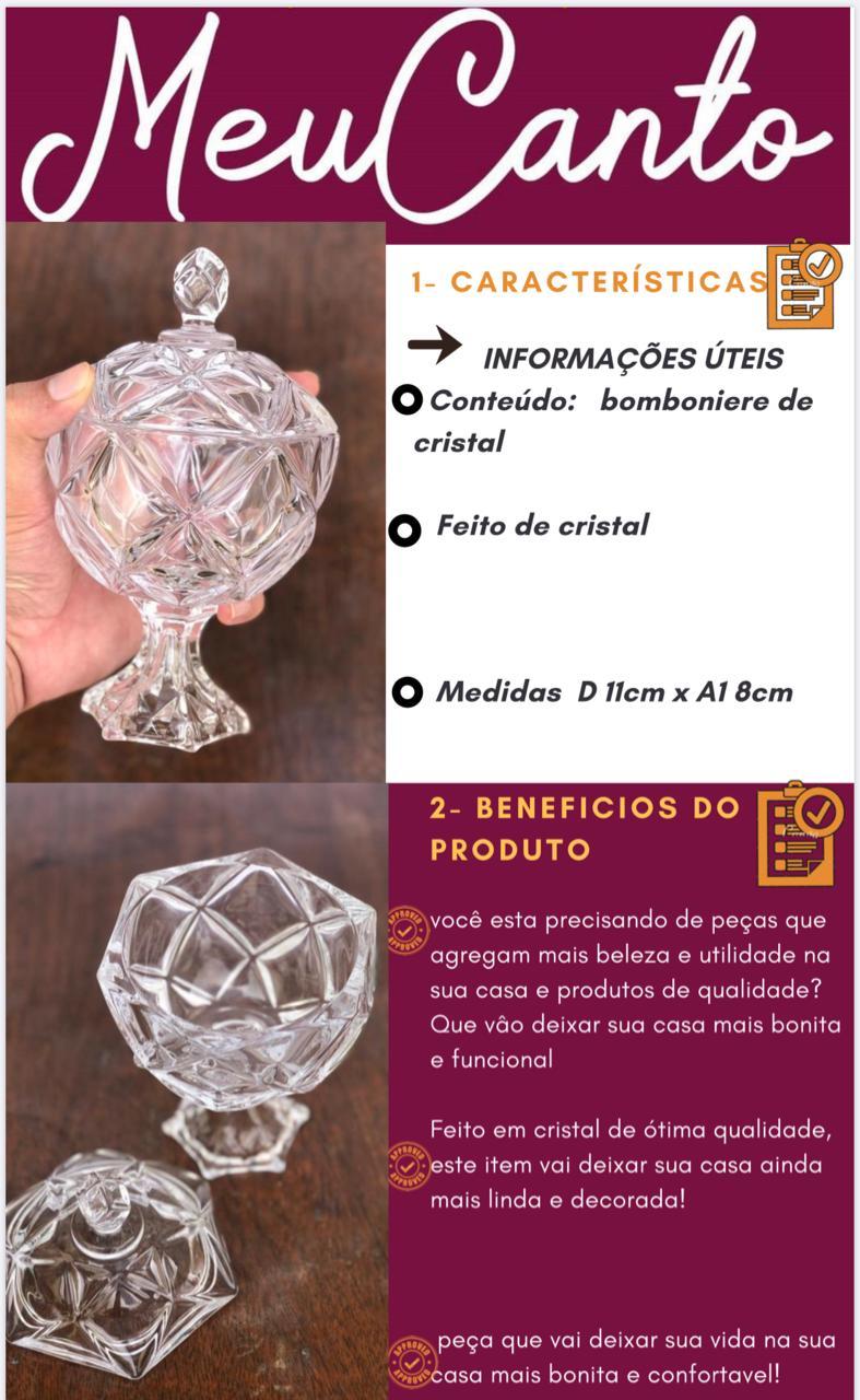 Bomboniere de vidro cristal potiche bruxelas alta A18 x D11 enfeite vidro vaso decorativo