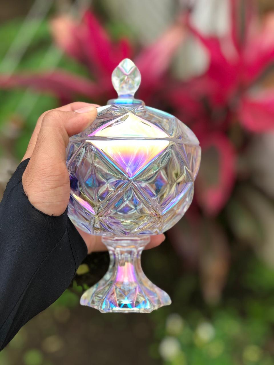 bomboniere de vidro cristal potiche flamenco alta A18 x D11 enfeite decorativo