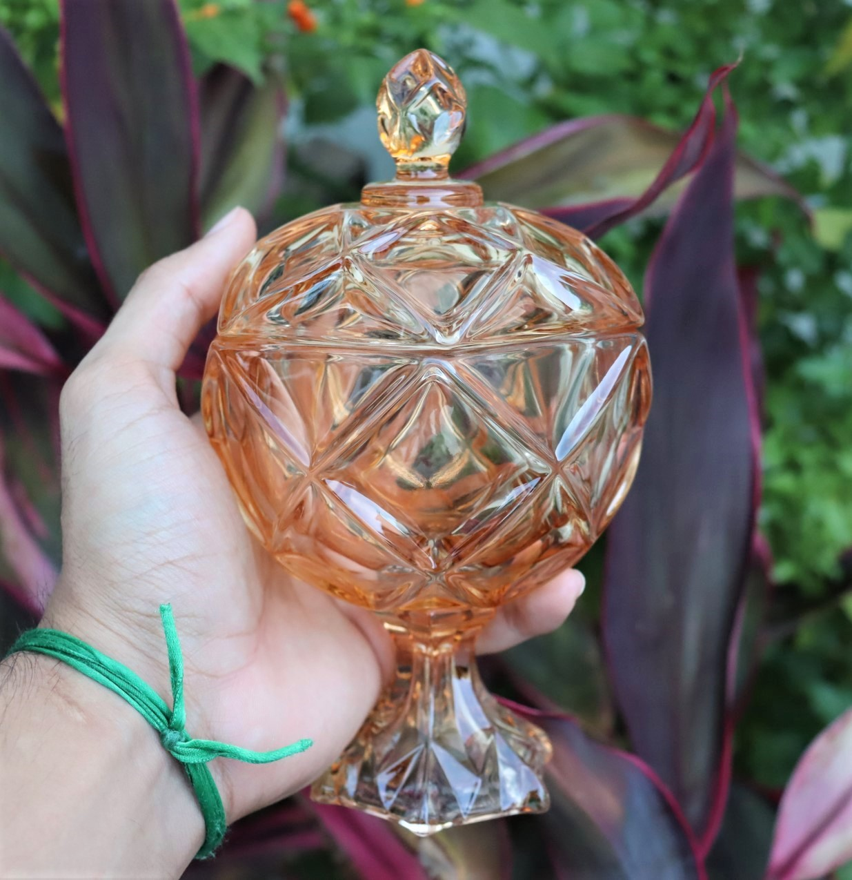 bomboniere de vidro potiche cristal baleiro enfeite decorativo ambar