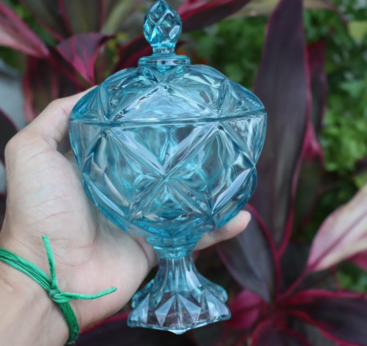 bomboniere de vidro potiche cristal baleiro enfeite decorativo Azul