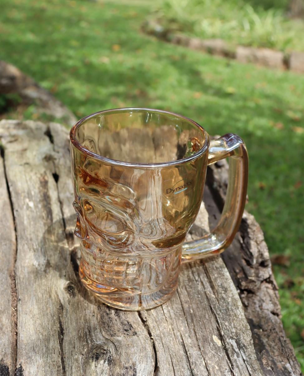 Caneca caveira ambar de vidro Chop 380mL copo de vidro cerveja dourada