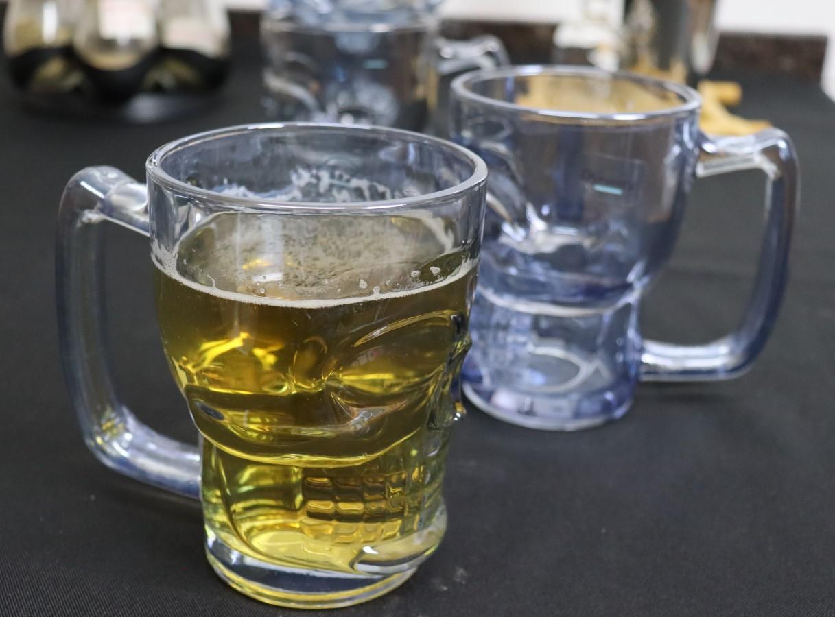 Caneca caveira azul luster de vidro Chop 2unidades 380mL copo de vidro cerveja