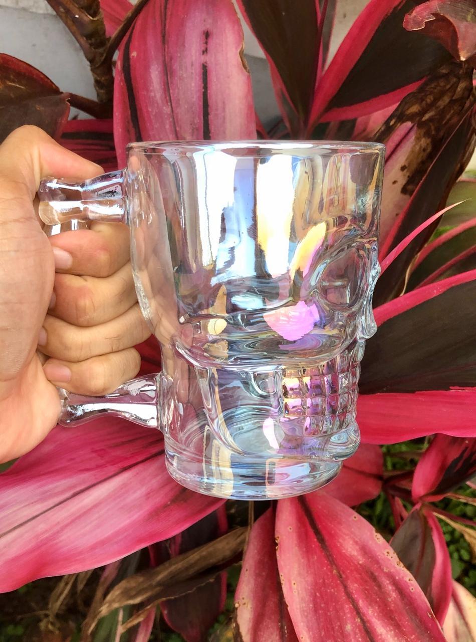 Caneca caveira brilho de vidro Chop 500mL copo de vidro cerveja
