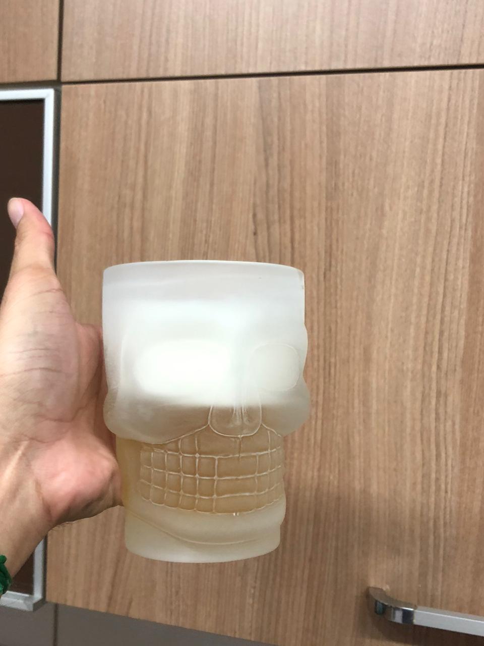 Caneca caveira de vidro Chop 500mL fosca copo de vidro cerveja