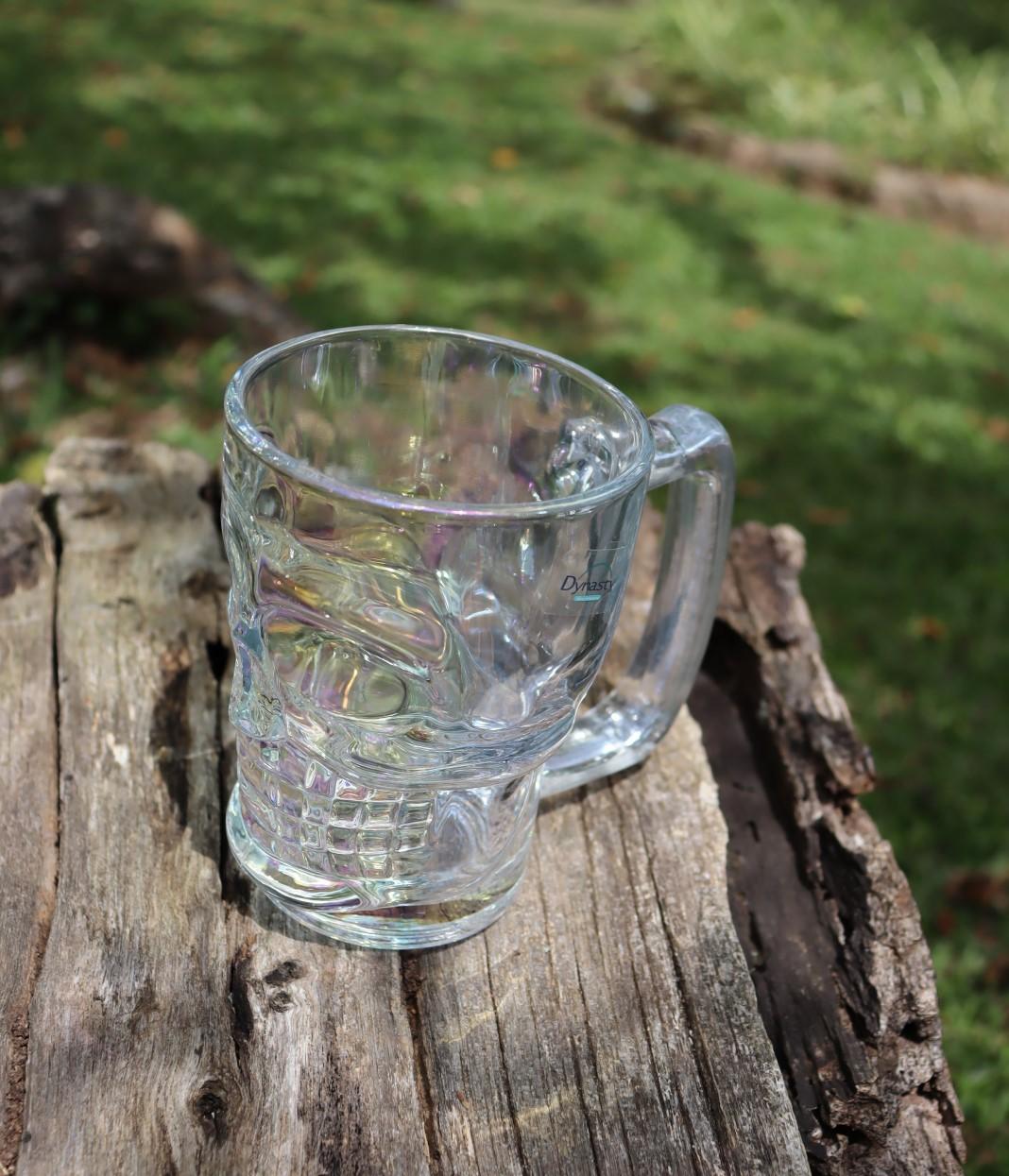 Caneca caveira furta-cor de vidro Chop 380mL copo de vidro cerveja brilhante