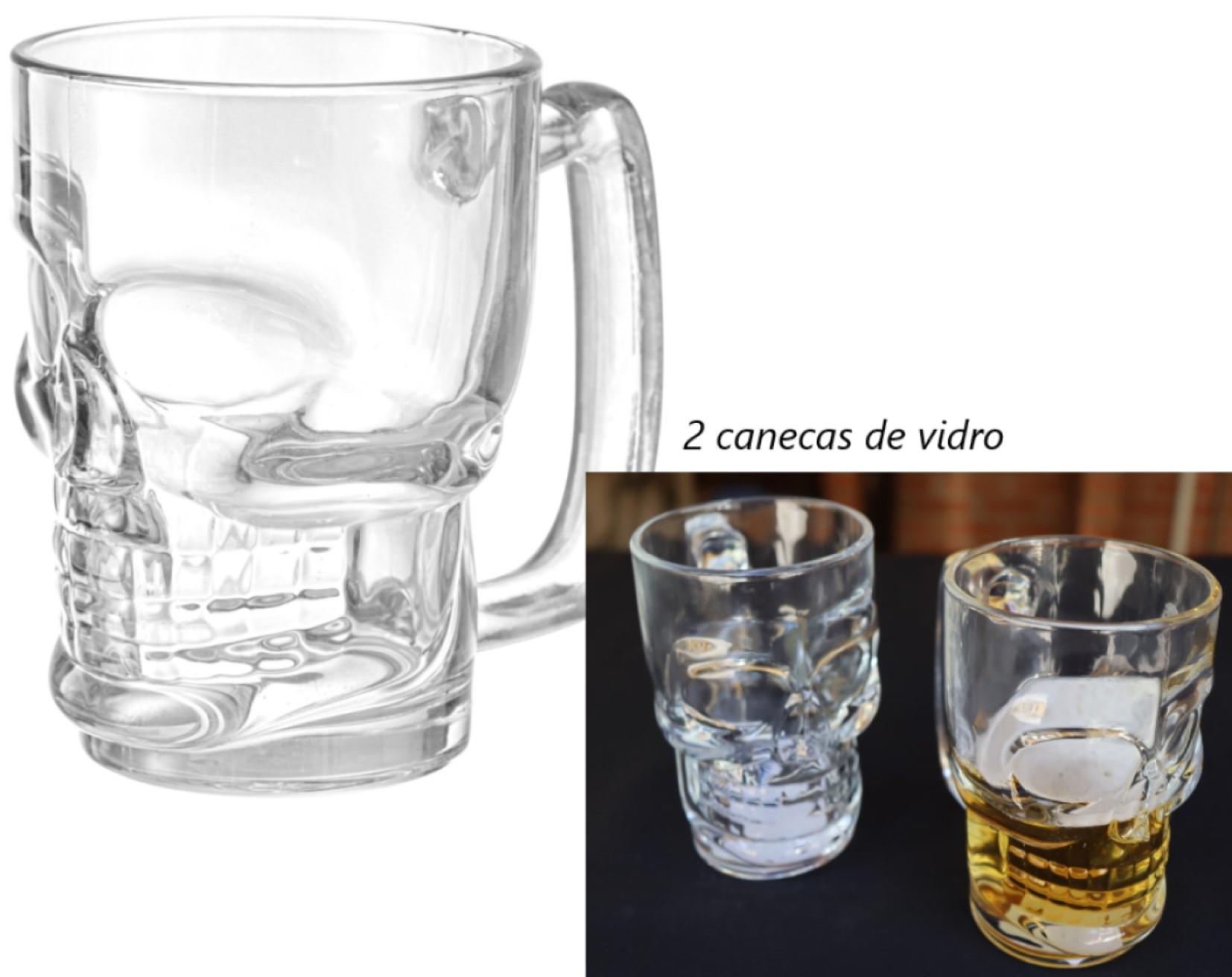 Caneca caveira Transparente de vidro Chop 365mL copo de vidro cerveja 2 unidades