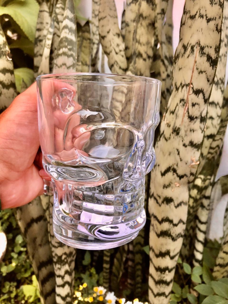 Caneca caveira Transparente de vidro Chop 500mL copo de vidro cerveja
