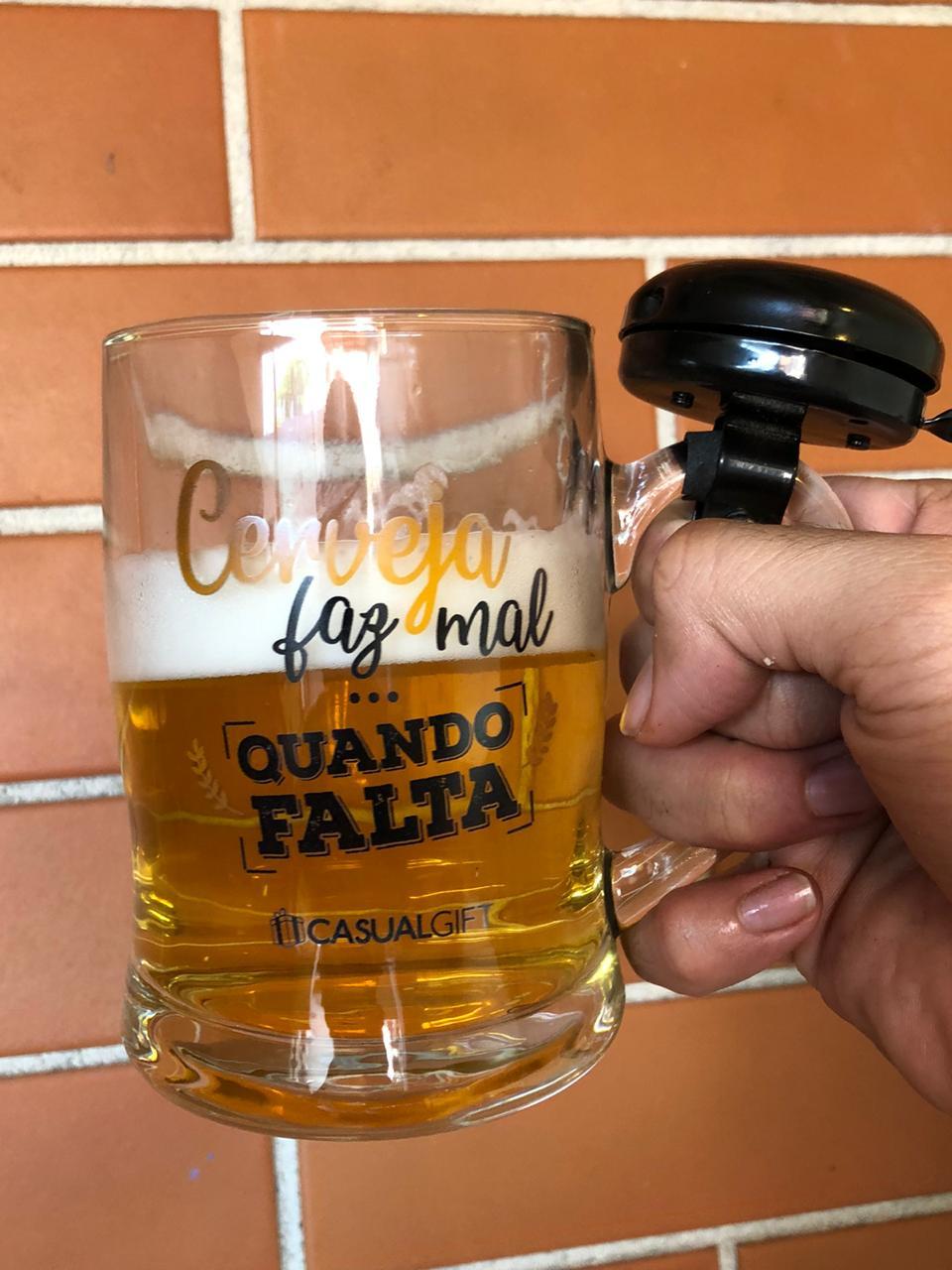 caneca de chopp cerveja de vidro com campainha divertida 400ml copo caneca chopp criativa