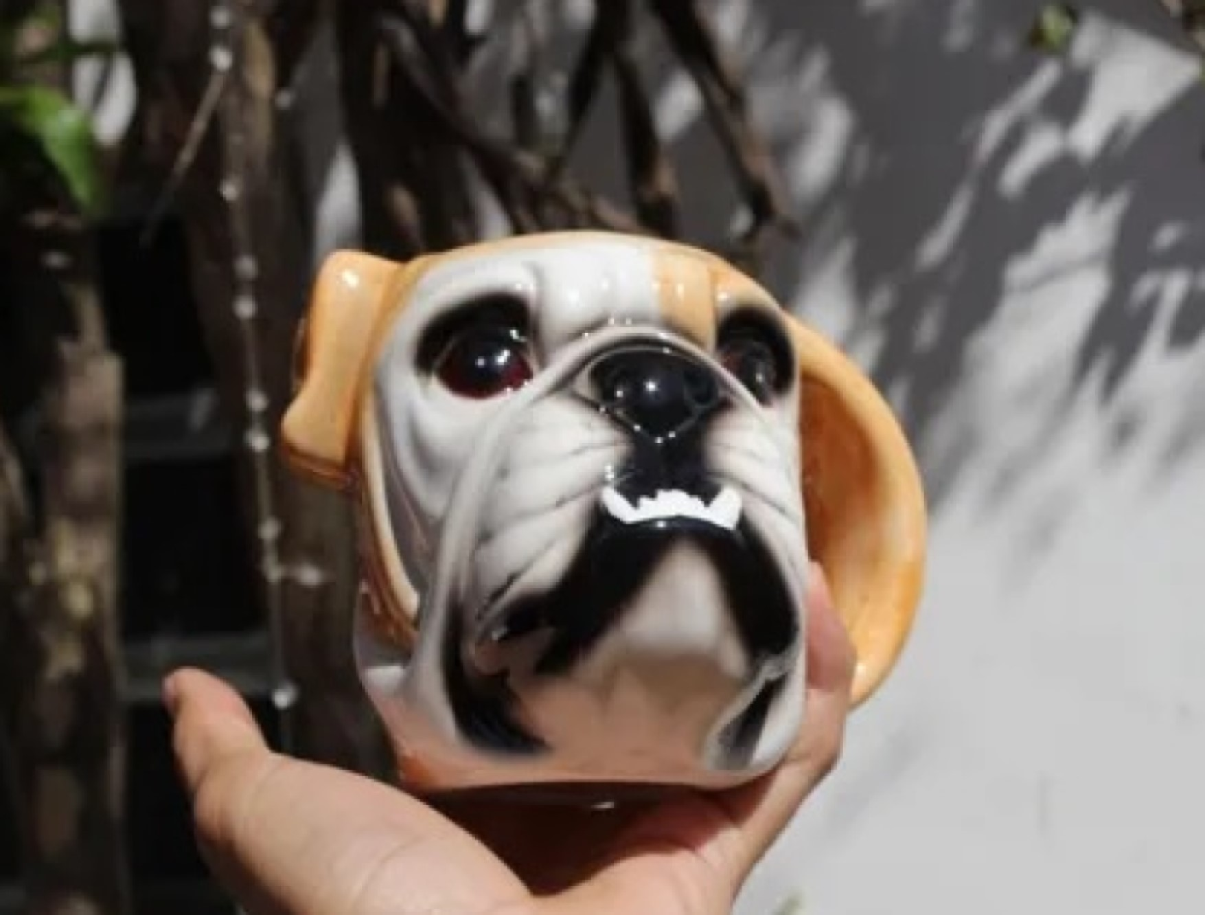 caneca de porcelana esmaltada 3d bulldog cachorro 550mL