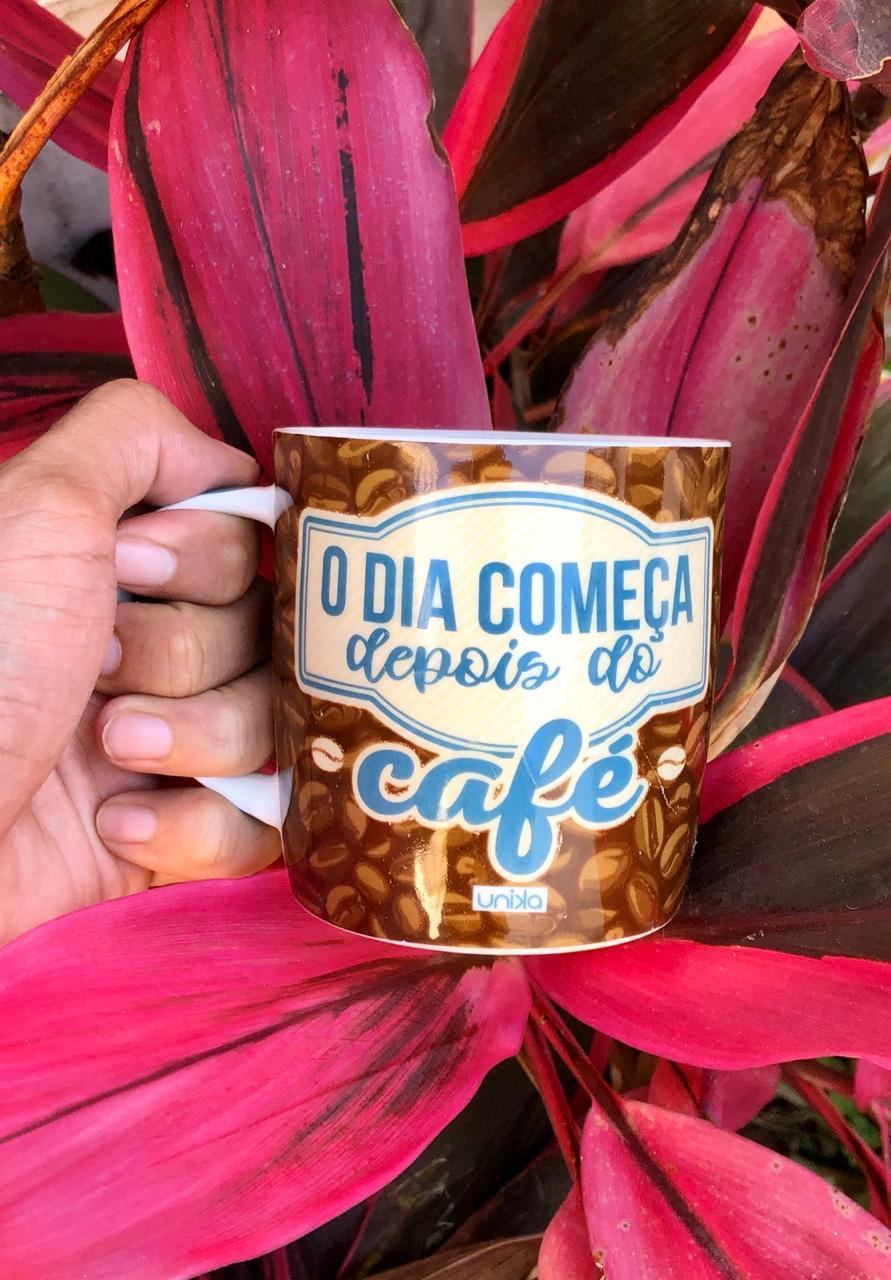 caneca esmaltada de porcelana de café 390 mL dia só começa depois do café