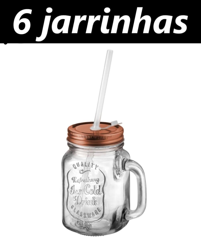 Canecas Jarras 6 unidades Pote Retrô vintage de vidro Com Canudo E Tampa Bronze 470mL