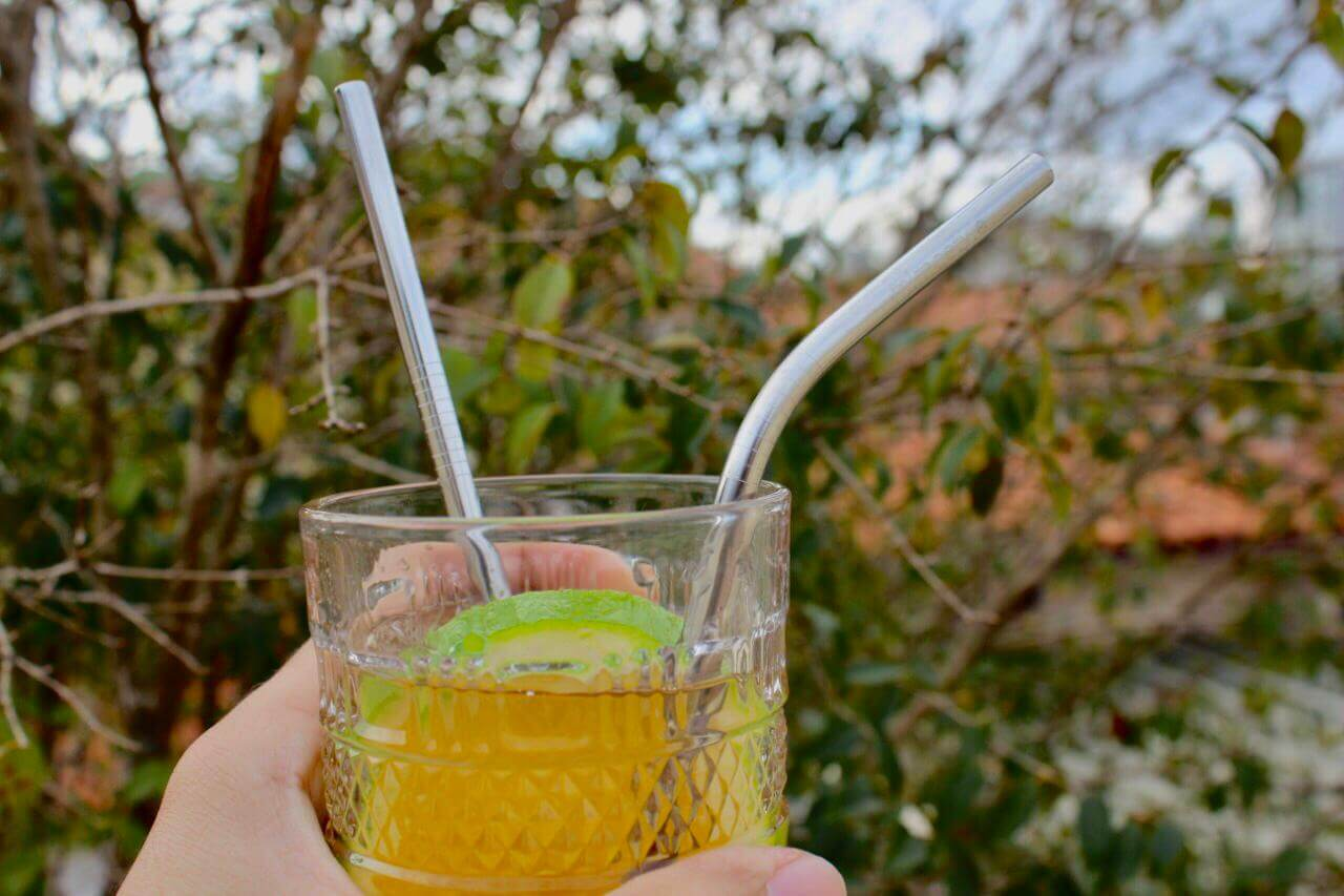 canudo ecológico inox reutilizável 4 unidades + escova para limpeza