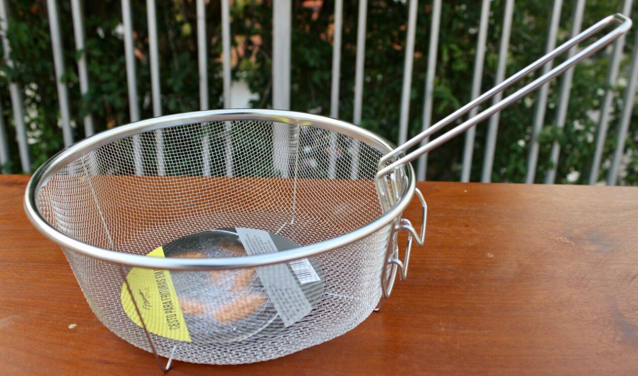 Cesto para fritura 23cm Peneira Fritadeira Reforçado Redondo aço inox mimo style