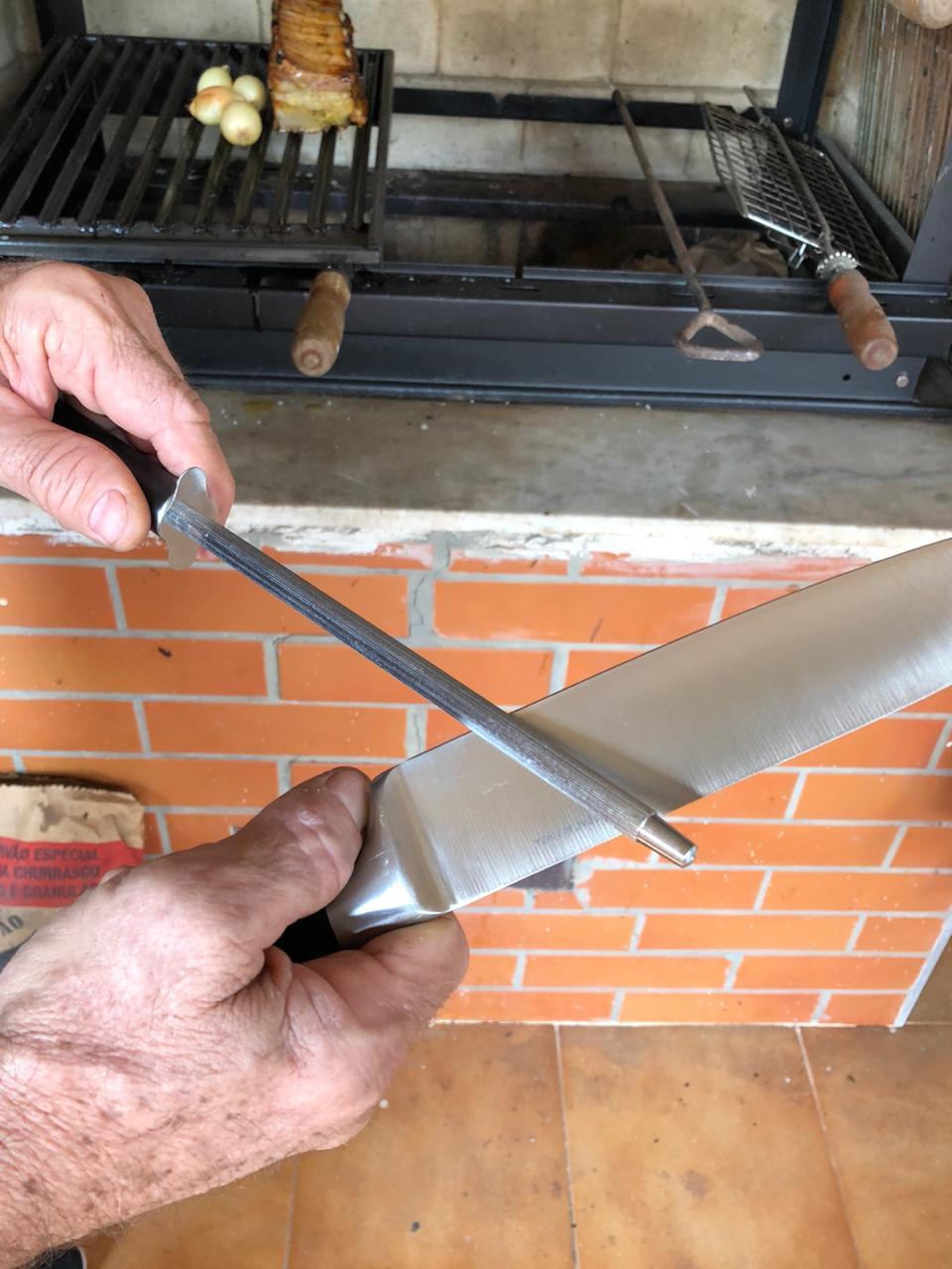 chaira profissional amolador de facas estriada afiador 30cm