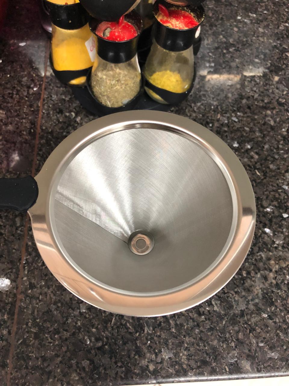 coador de café pour over filtro de café reutilizável individual aço inox 11cm não precisa de papel