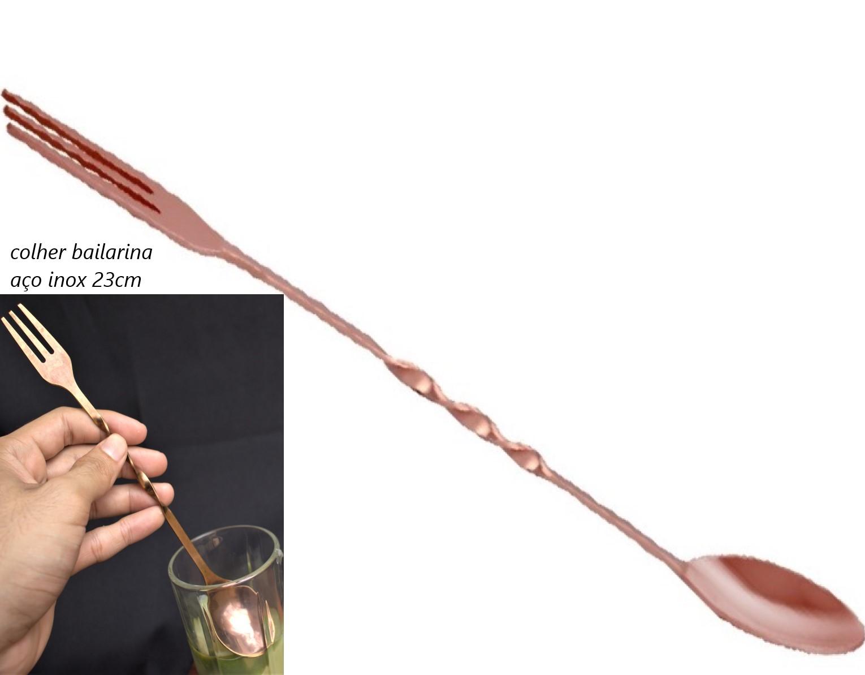 Colher bailarina com garfo barman drinks mexer coquetel de aço inox rose cobre 23Cm