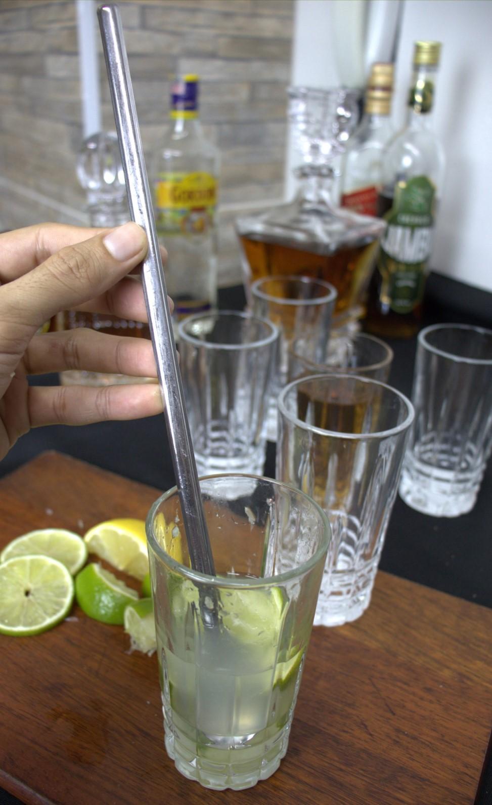 Colher bailarina para sucos barman drinks mexer coquetel de aço inox prateada 30Cm
