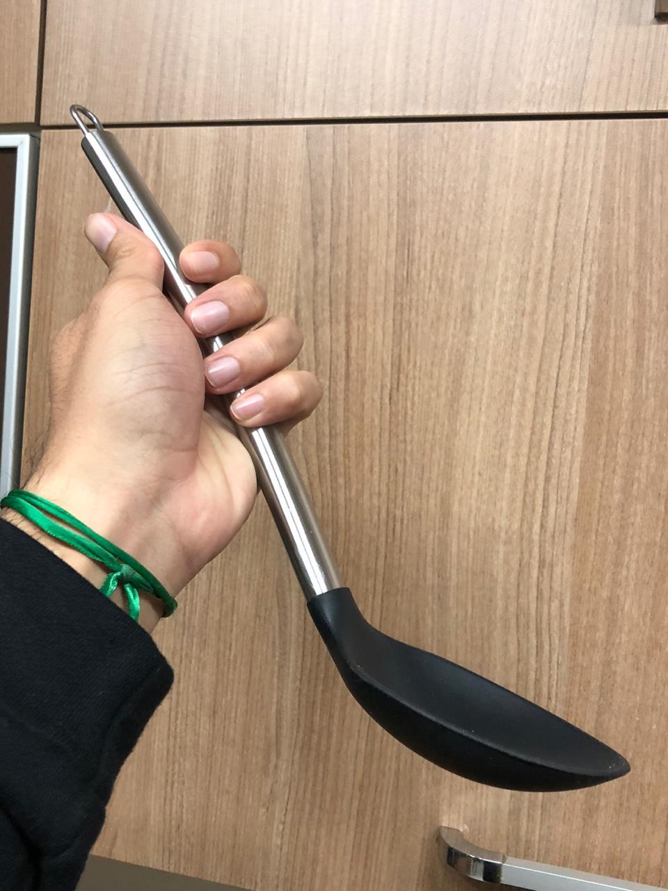 Colher de silicone arroz preta grande para servir inox 35cm utensílio de cozinha