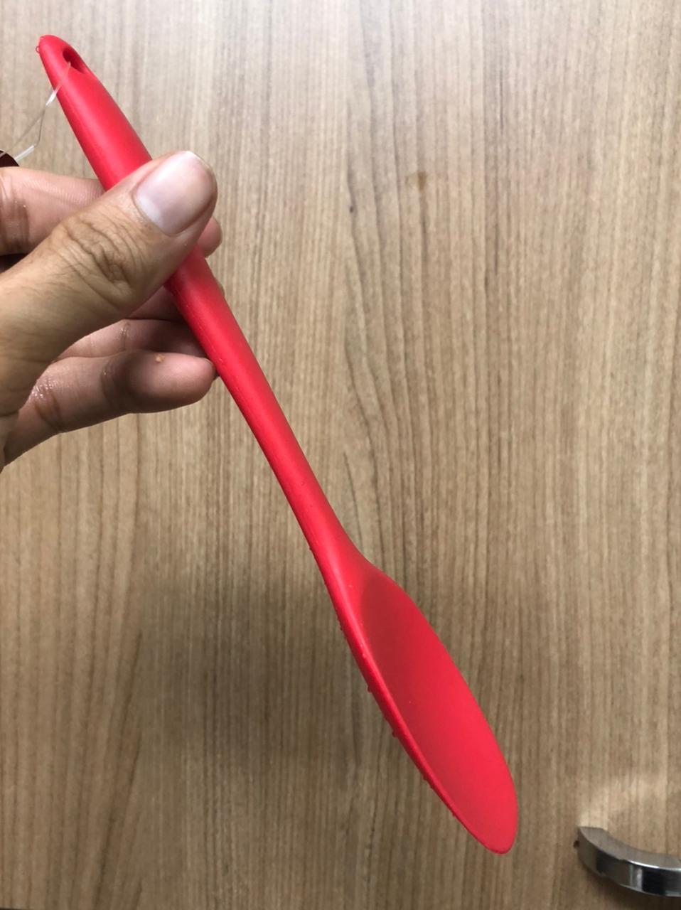 Colher de silicone para cozinha raspadora arroz vermelha alta qualidade 21cm