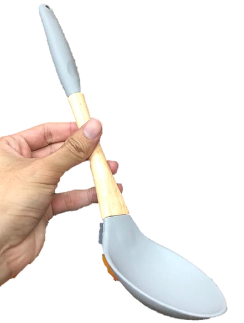 Colher de silicone para servir cozinhar arroz madeira 32cm azul utensílio de cozinha