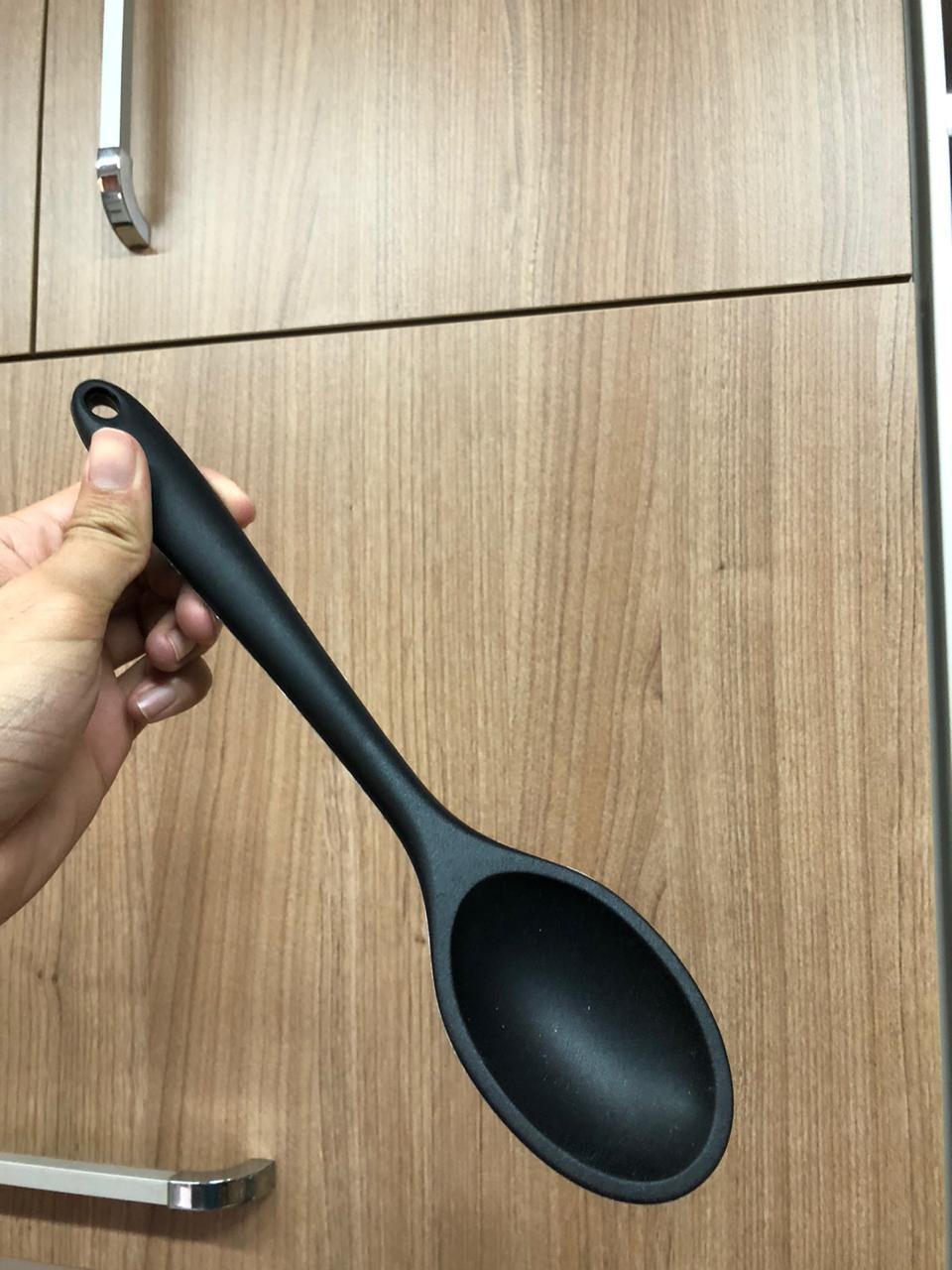 Colher de silicone para servir cozinhar arroz preta 27cm utensílio de cozinha