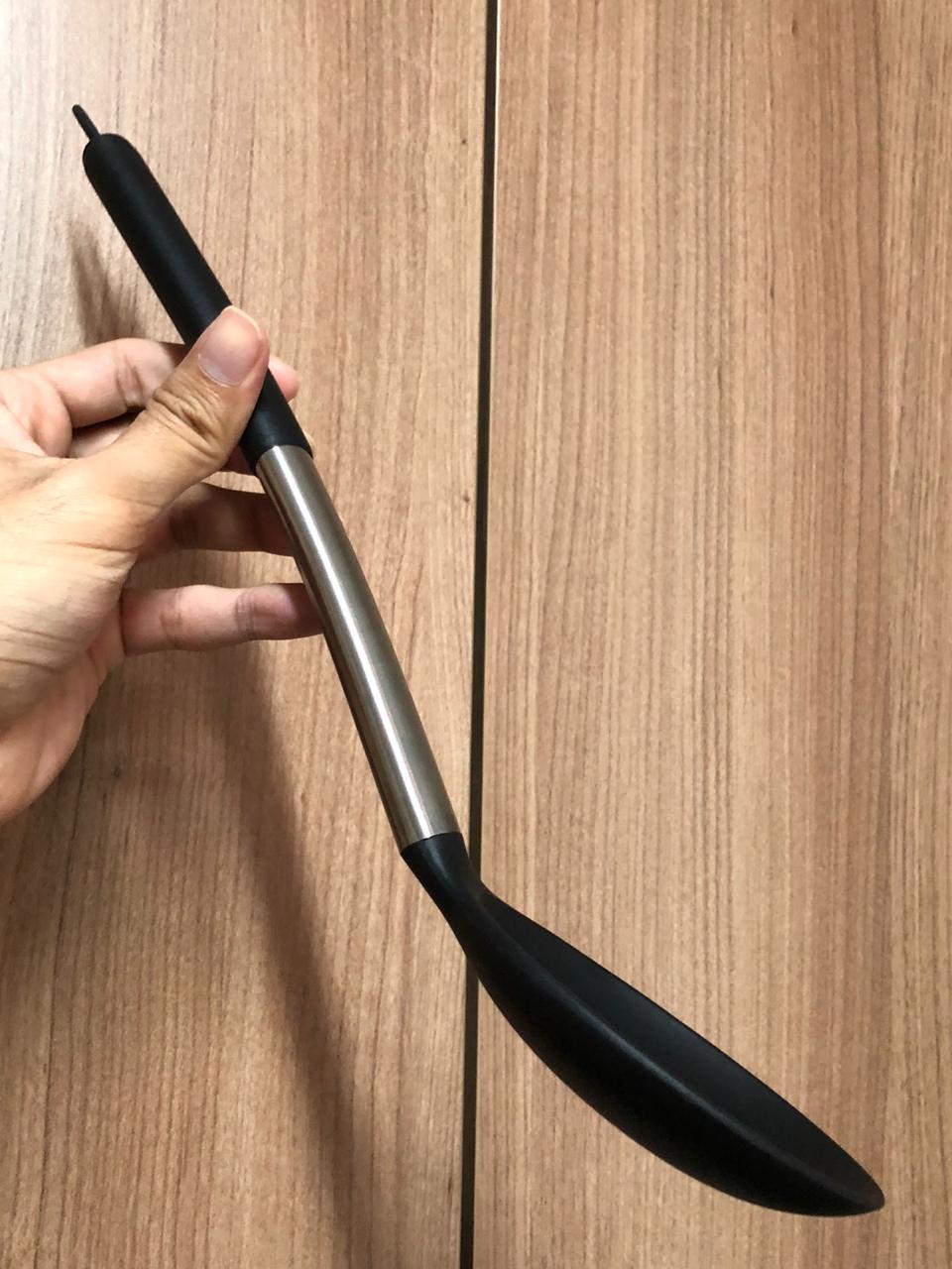 Colher de silicone servir arroz preta grande inox 34cm utensílio de cozinha