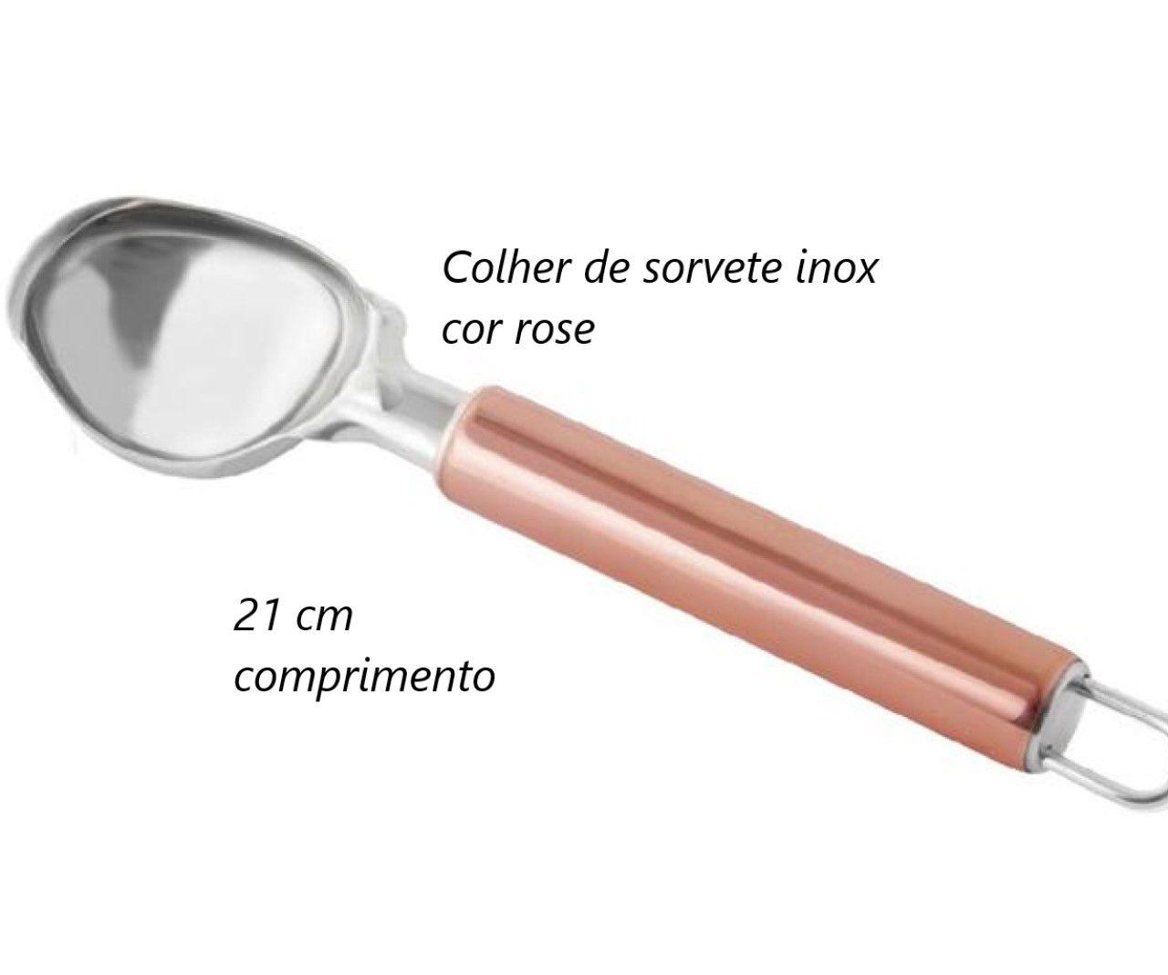 Colher de sorvete sobremesa Aço ino Rose Cobre 20Cm pegador bola MimoStyle