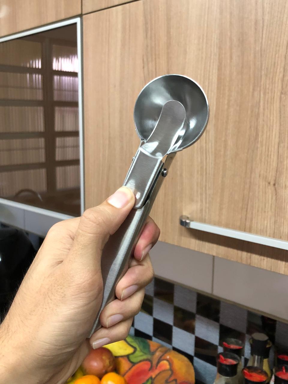 Colher de sorvete sobremesa em aço inox 18Cm pegador sorvete concha bola
