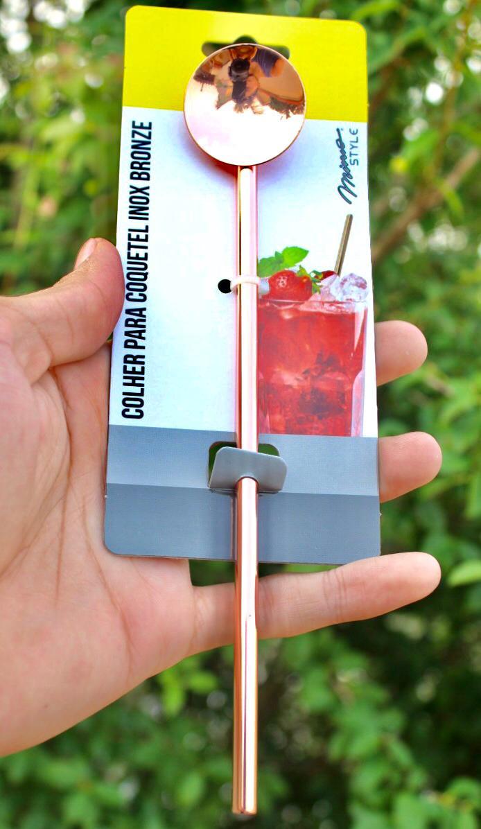 Colher para coquetel 2 unidades inox cobre rose suco drinks colher longa bailarina