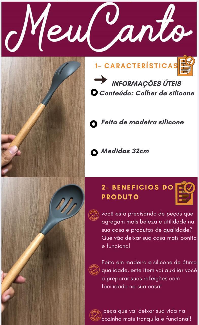 Colher vazada de  arroz grande silicone e madeira cinza 32cm
