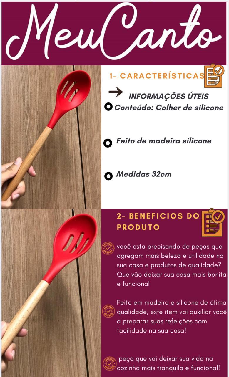 Colher vazada de  arroz grande silicone e madeira vermelha 32cm