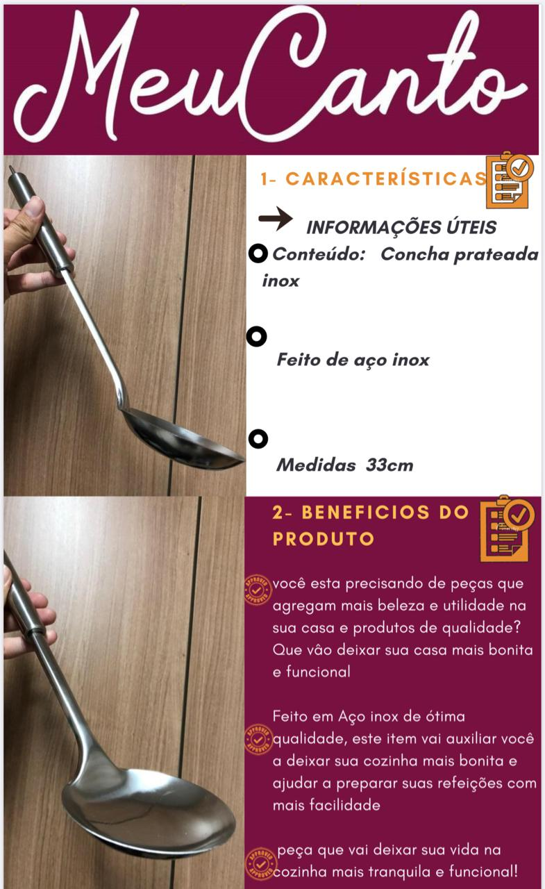 Concha de cozinha feijão utensilio em aço inox 33cm