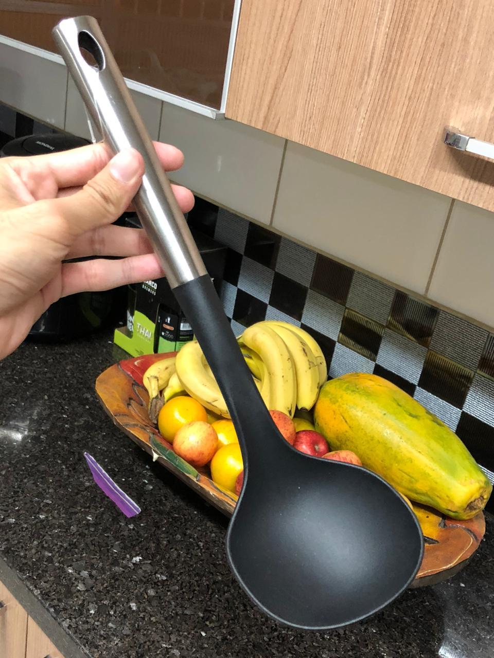 Concha de feijão em nylon aço inox preto 33 cm utensílio de cozinha