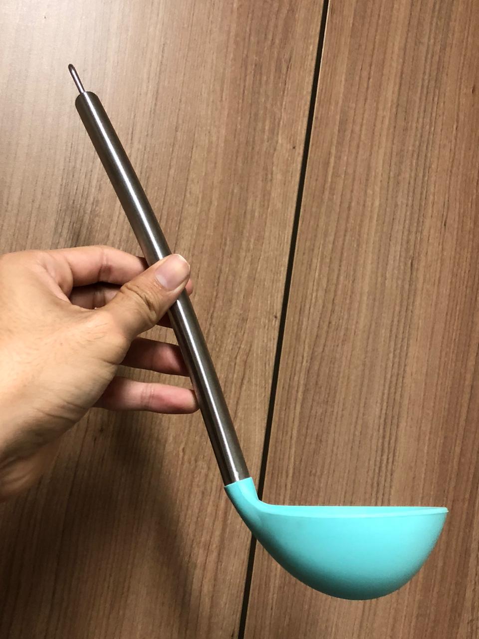 Concha de feijão para cozinha em silicone azul 30cm utensilio de cozinha