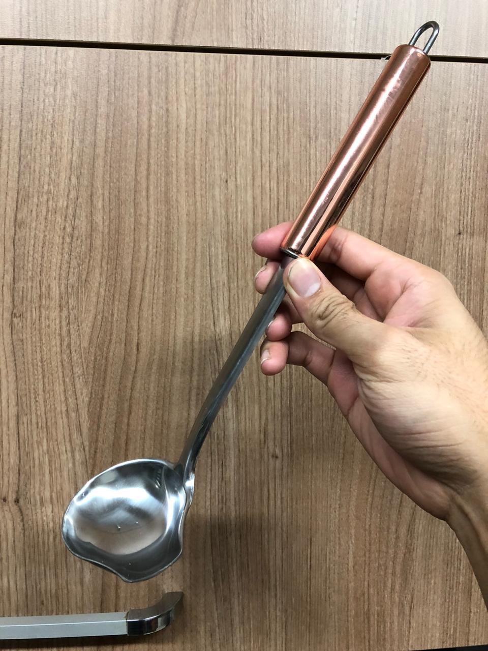 concha para molhos feijão sopa aço inox rose cobre mimostyle