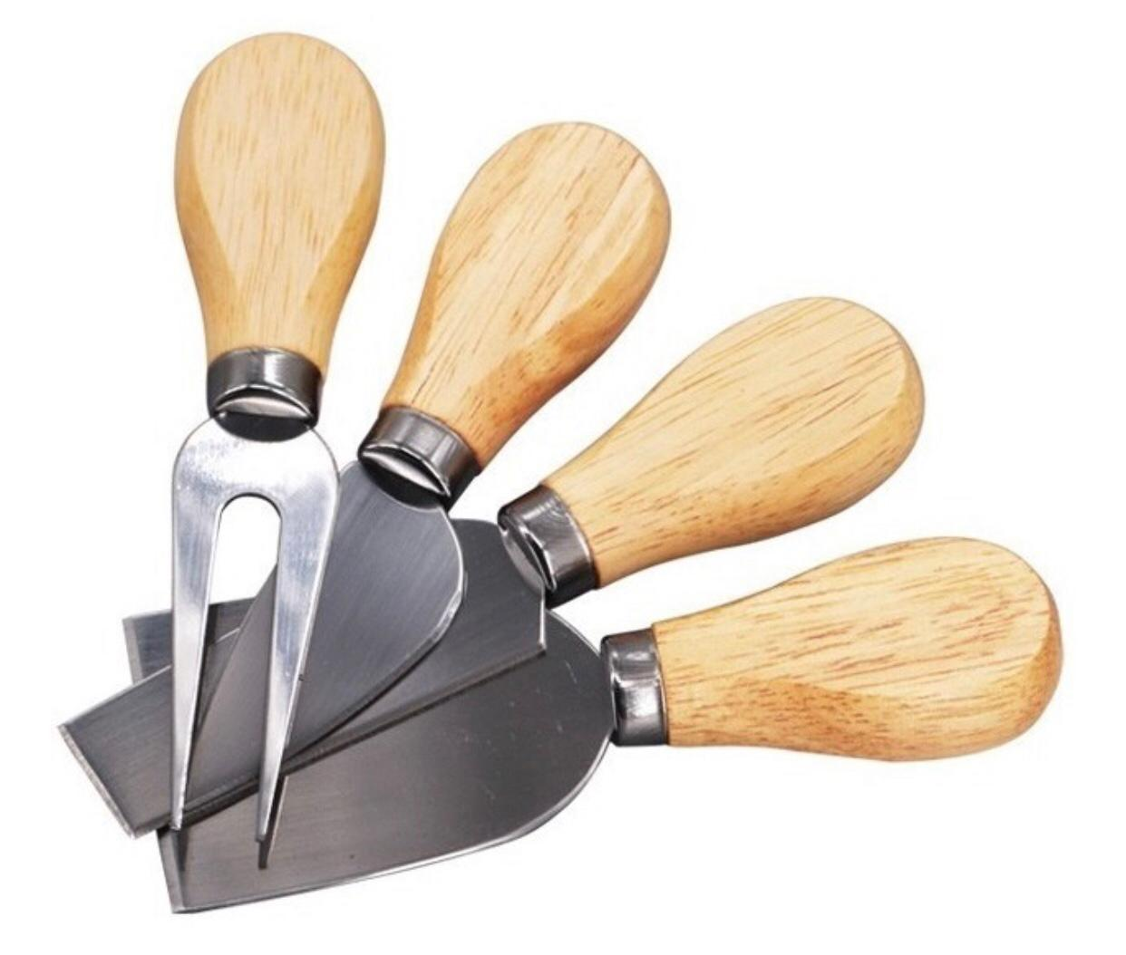 conjunto para queijos e frios faca cortador de queijo madeira e aço inox