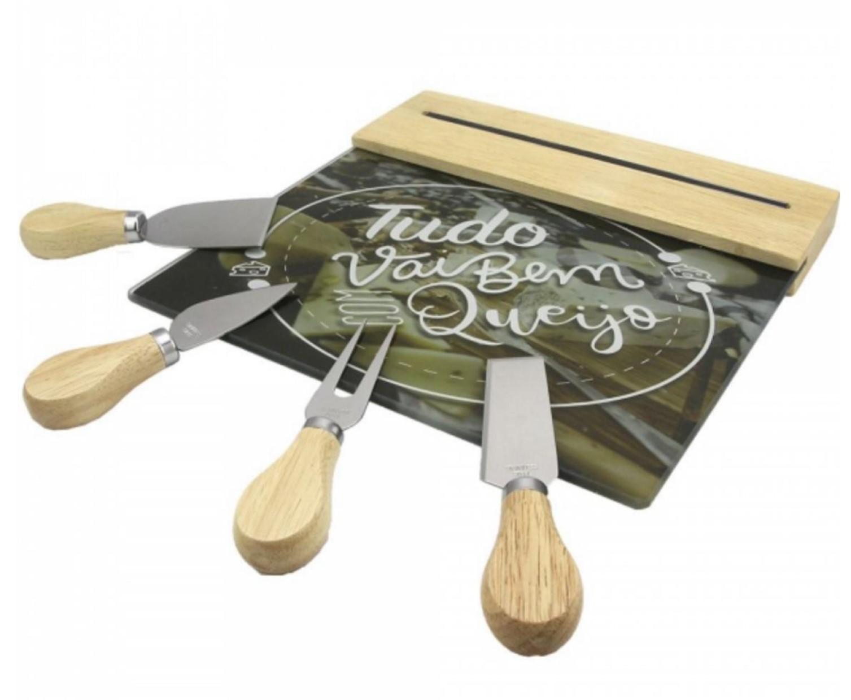 conjunto para queijos madeira e aço inox com petisqueira tábua de vidro com barra magnetica