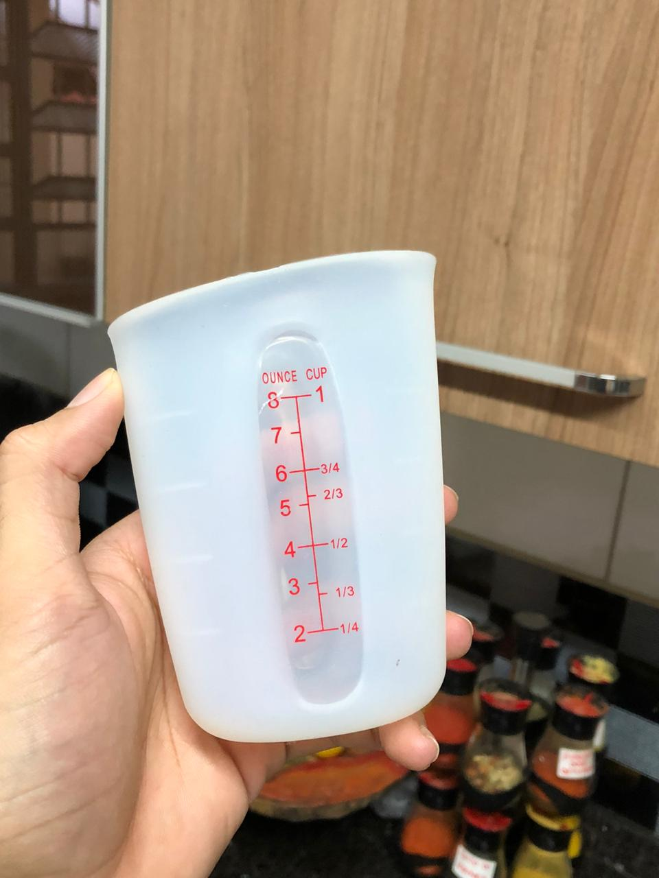copo medidor flexível silicone jarra medidora cozinha 250mL