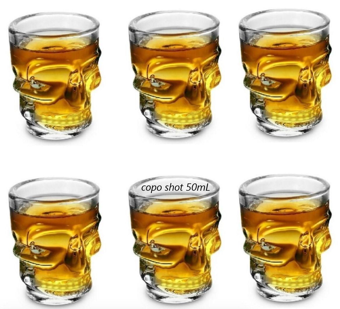 copo shot caveira dose vidro tequila whisky vodka licor bebidas jogo 6 copos 50mL bar
