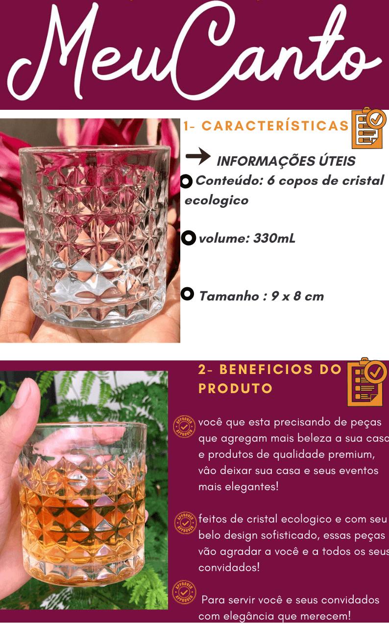Copos de whisky 6 unidades de cristal ecológico luxo aquamarine 330mL copo para uisque