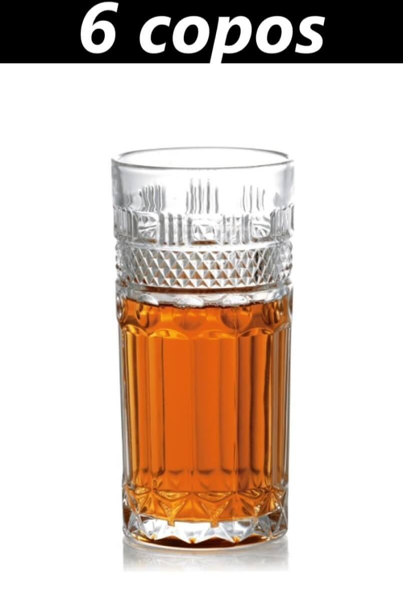 Copos longos 6 unidades de cristal ecológico 350mL para bebidas drinks classicos